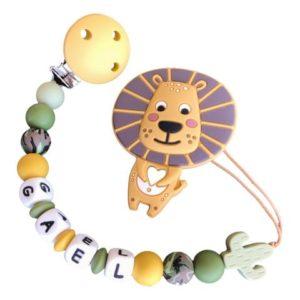 chupetero silicona león camuflaje