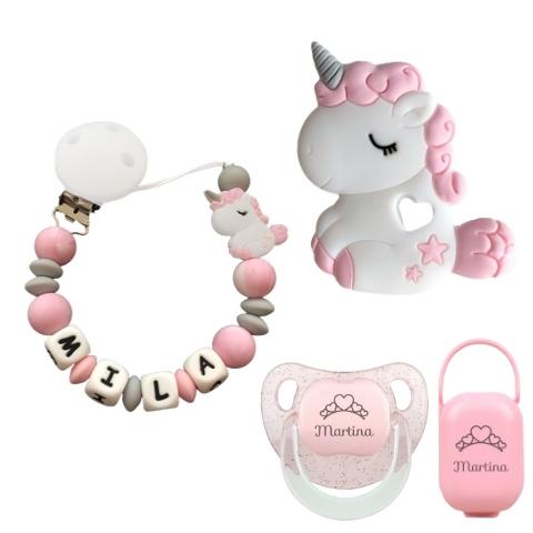 chupetero unicornio rosa silicona